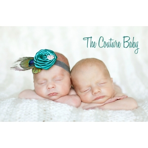 Jade Peacock Feather Rhinestone Baby Headband