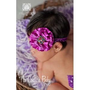 Purple Satin Rainbow Crystal Glitter Headband