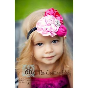 Pinkalicious Hot Pink & Pink Satin & Silk Glitter Headband