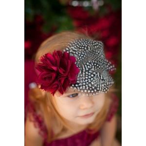 "Burgundy Satin & Tulle Accent Flower & Feather ""Holiday Princess"" Headband"