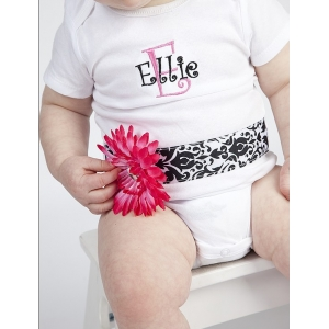 Damask Couture Personalized Ribbon Onesie