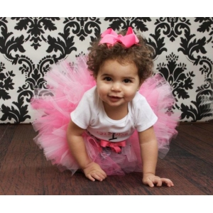 Black & White Damask Personalized Birthday Shirt, Light Pink & Hot PInk Tutu, Diaper Cover Bloomers & Headband Set