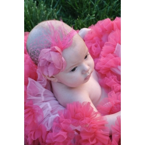 Pink Organza Floral Jeweled Couture Lace Headband