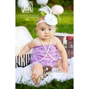 White Flower Ostrich Feather & Pearl Headband