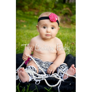 Hot Pink Netted Flower & Crystal Headband