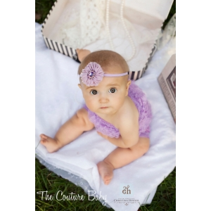 Lilac Jeweled Beaded Organza Headband