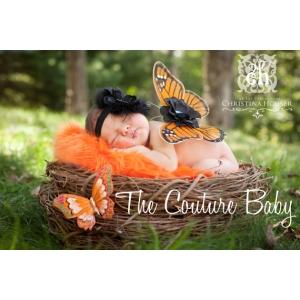 Orange Monarch Butterfly Wings & Headband 2 Piece Photo Prop Set