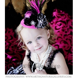 Zebra Hot Pink Mini Top Hat Photo Prop Headband