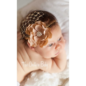 Gold Vintage Flower & Sequin Headband