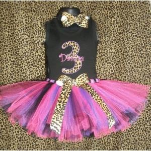 Leopard Cheetah Lady Personalized Birthday Hot Pink & Purple Tutu Set Age 1, 2, 3, 4, 5, 6,