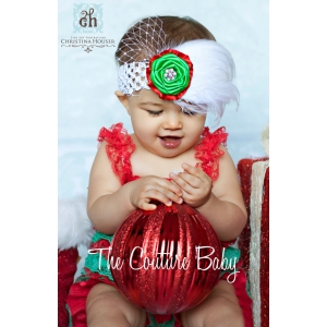 Red & Green Christmas Cutie Feather & Flower Headband