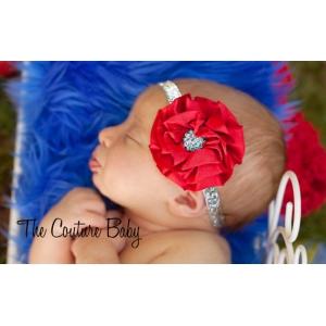 Red Satin Ruffle & Blue Crystal Headband