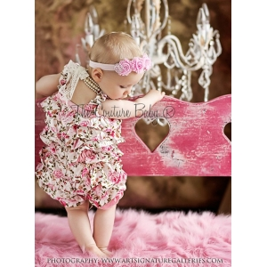 Pink Satin Floral Shabby Chic Petti Romper