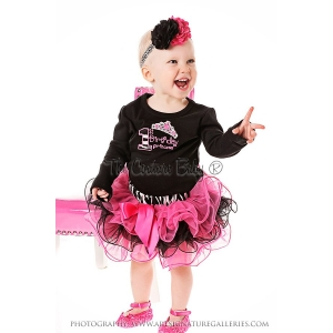 First Birthday Princess Zebra Ruffle Skirt Set