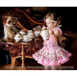 Shabby Chic Pink  Floral Satin & Chiffon Pettiskirt