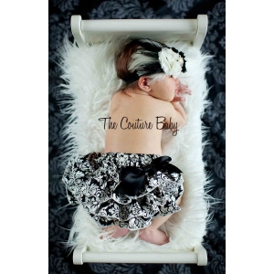 Black & White Satin Damask Ruffle Bloomers Diaper Cover
