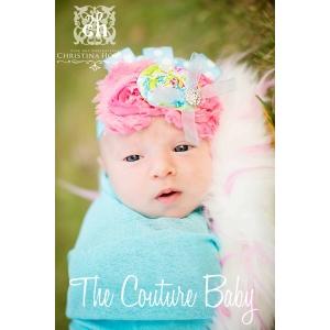 "Pink & Aqua Shabby Flower ""Sweet Candy Shop"" Polka Dot Headband"