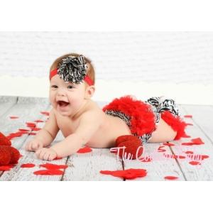 Red Chiffon Ruffle Zebra Print Bloomers & Headband Photo Prop 2 Pc Set Set