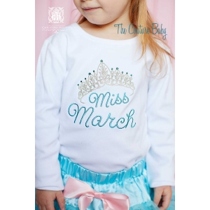 Miss Month Sparkle Crown Birthday Shirt