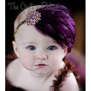 "Plum Feather & Purple""Sugar Plum""  Crystal Headband"