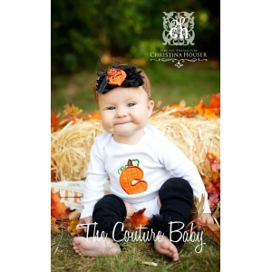 Pumpkin Patch Personalized Initial Ruffle Bottom Halloween Onesie