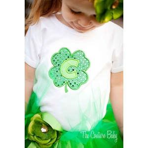 Clover initial  Shirt or Onesie