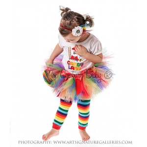 Rainbow Multi Color Tutu & Bow
