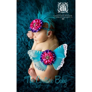 "Purple, Turquoise & Hot Pink ""Pop Of Color"" Butterfly Wings & Headband  2 Piece Photo Prop Set"