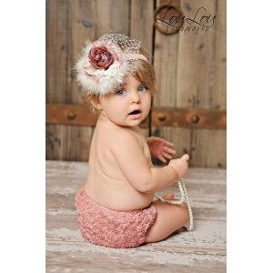 Antique Rose Mauve Rosette Diaper Cover Bloomers