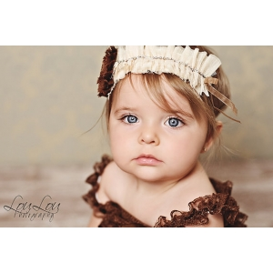 Ivory Cream & Brown Accent Vintage Rhinestone Ruffle Headband