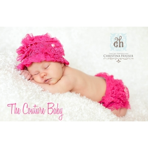 Hot Pink Lace Ruffle Hat & Bloomer Set