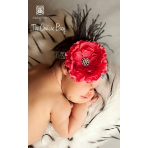 Fuchsia Ruffled Flower & Black Feather Zebra Print Headband