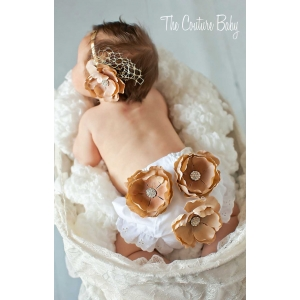 Golden Tan Flower & Crystal Photo Prop Bloomer & Headband Set