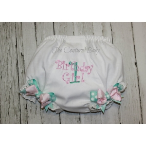 Princess Pink & Tiffany Blue Birthday Diaper Cover