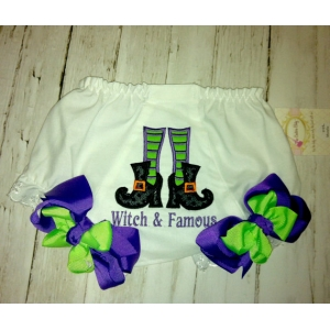 Witch Stockings & Shoes Personalized Halloween Diaper Cover Bloomers