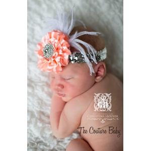 Coral Peach Sparkle Headband