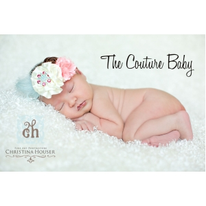 Aqua Pink & Ivory Flower & Feather Headband