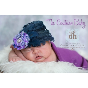 Purple & Navy Swirl Flower Feather & Crystal Headband