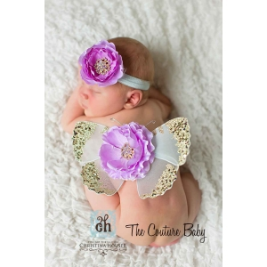 Lavender & Mint Green Gold Sequin Butterfly Wings Photo Prop