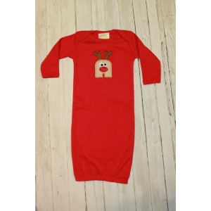 Rudolph Initial Red Layette Gown