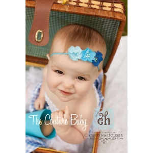 Triple Blue Mini Floral & Sequin Center Headband