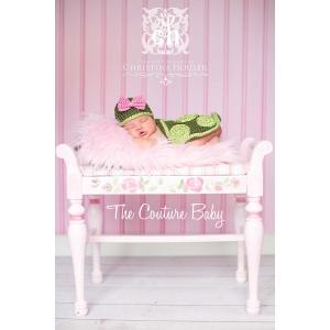 Little Pink BowTurtle Crochet Set