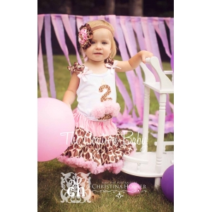 Pink Giraffe Age One Two or Three Cupcake Pink & Brown Birthday Petti Skirt Set