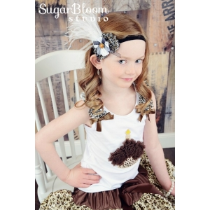 Leopard Flowers & Ostrich Feather Vintage Headband