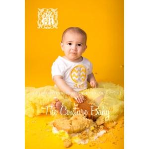 Yellow & Gray Chevron Polka Dot Personalized Shirt