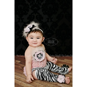 Zebra and Light PInk Bloomers, Headband, Top, Leg Warmers  & Headband Photo Prop 5 Piece Set