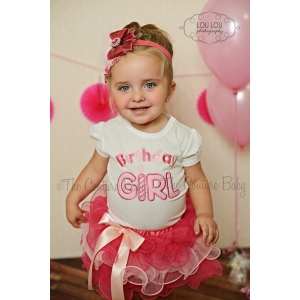Birthday Girl Applique Shirt & Hot Pink & Pink Chiffon Ruffle Tutu Set Shirt