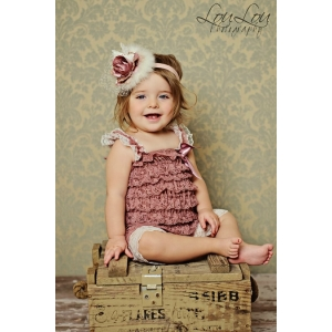 Dusty Rose & Cream Ivory Trim Petti Romper