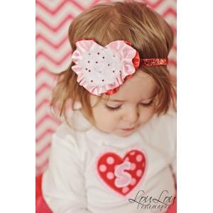 Red & White Heart Crystal Valentine's Day Crystal & Glitter Headband