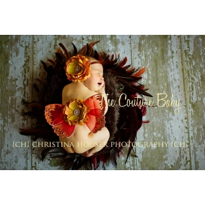Fall Splendor Red & Gold Wings Butterfly Photo Prop Mariposa Newborn Baby Girl